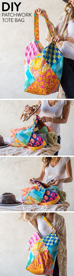This colorful, patchwork tote will quickly become your favorite bag. This DIY accessory has the perfect prints for summer and is big enough to fit all your necessities.