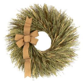 """Twig and wheat wreath with a burlap bow.  Product: WreathConstruction Material: Preserved wheat, dried grass, twig and juteColor: Green and beigeDimensions: 30"""" Diameter x 7"""" D"""