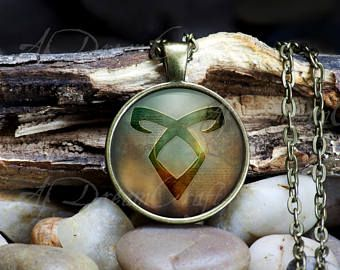 """Shadowhunter Inspired: Angelic Power Rune- Customizable 1"""" round or square, bronze or silver photo pendant necklaces and key chains"""