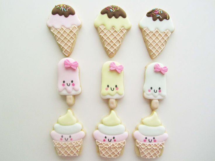 Kawaii Ice Cream cookies, Is fest ideer. Is, fest, fødselsdag, småkager, inspiration Is fest ideer. Is, fest, fødselsdag, småkager, inspiration Lille Kage Hus, Danmark