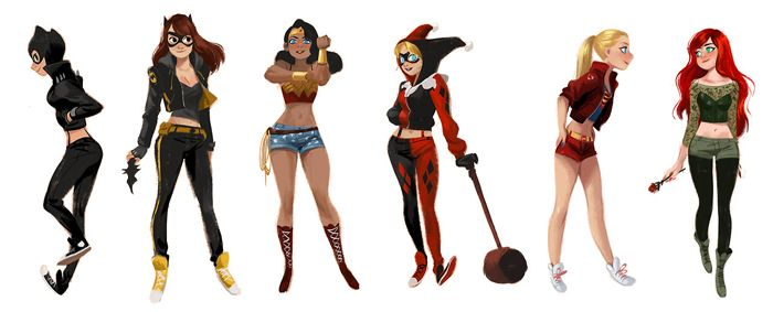 Catwoman, Batgirl, Wonder Woman, Harley Quinn, Supergirl & Poison Ivy. Artist Mingjue Helen Chen created this lineup of DC superheroes/villains wearing their street clothes!