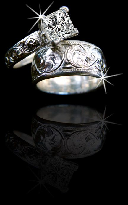 Western Silver Wedding Rings | Silver 4mm wide engagement ring and wedding band, hand engraved. Rings ...