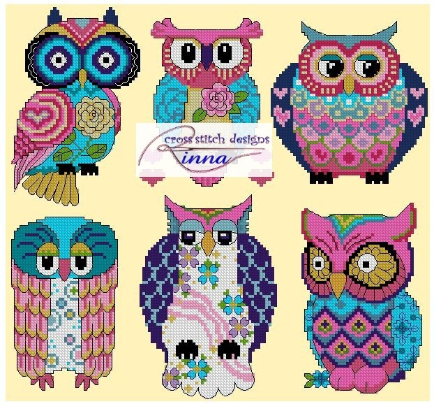 OWLS Abstract Spring Colors in Cross Stitch