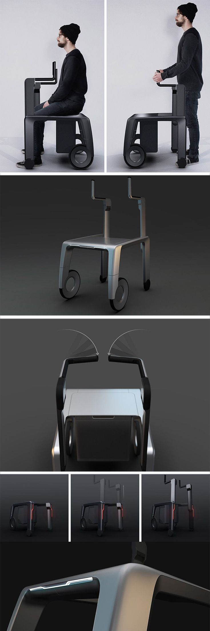 "Unlike ""medical"" looking walkers the PROSUS takes inspiration from both sport bikes and modern furniture, applying the same sleek design language to the walker."