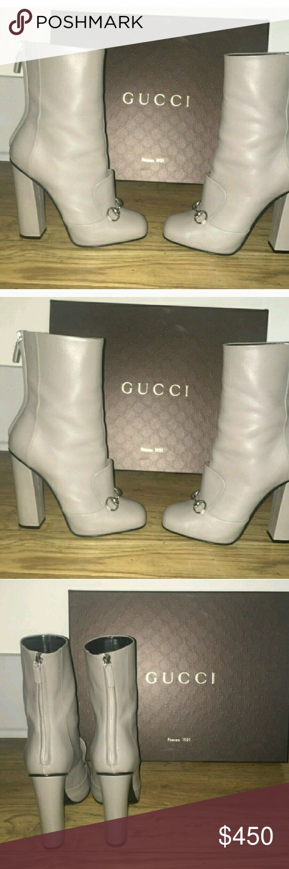 Gucci gray boots bad azz worn 2x Fabulous gray leather...minimal wear and super minor scuffs...has box and dustbag.. Gucci Shoes Heeled Boots
