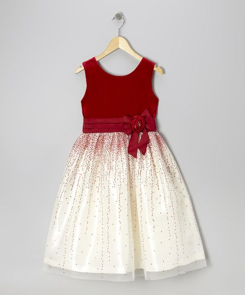 Look at this Jayne Copeland Red Velvet Glitter Tulle Dress - Girls on #zulily today!