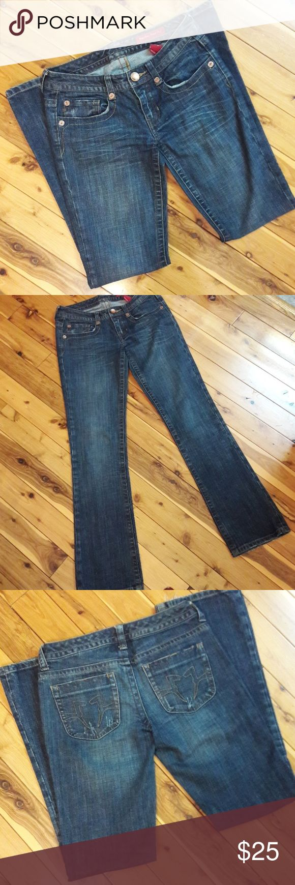 Seven7 Dark wash Bootcut Jeans, size 26 Minor wear at cuff but otherwise in great used condition.   Waist 15 Hips 17 Rise 7 Inseam 32 Length 39  Measurements are approximate and taken flat.  Please message me with any questions. A portion of sales are going toward disaster relief. Thank you. Seven7 Jeans Boot Cut