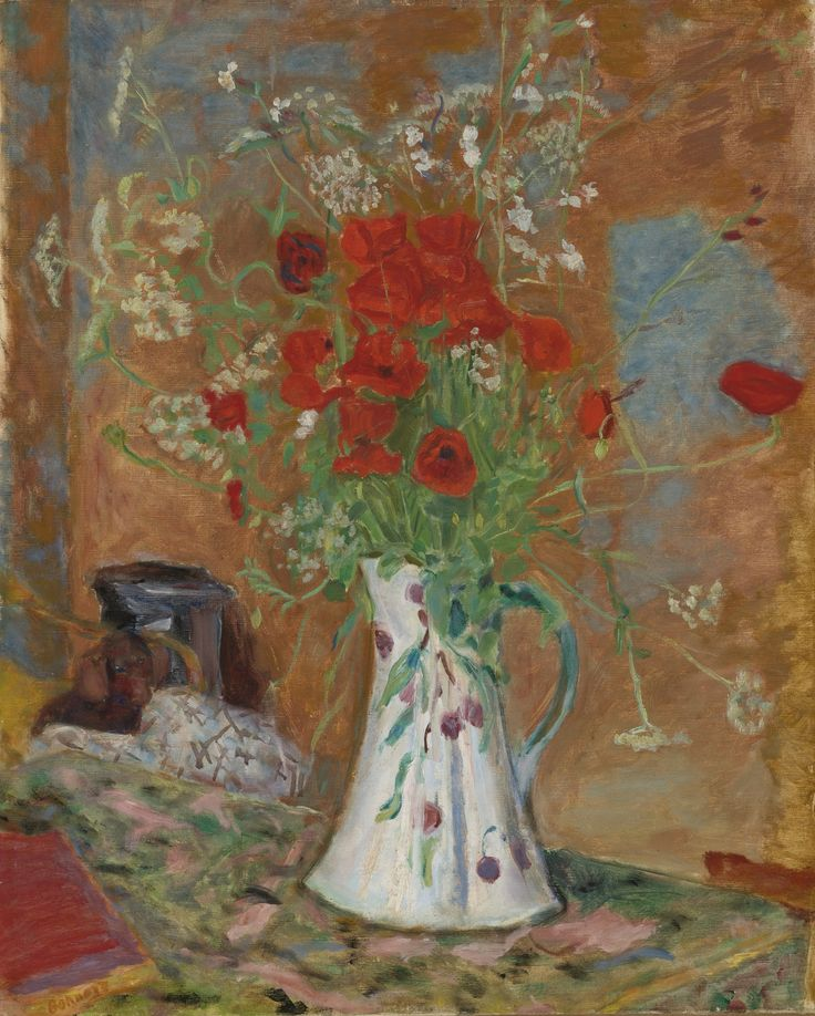 Pierre Bonnard 1867 - 1947 LES COQUELICOTS Signed Bonnard (lower left)  Oil on canvas 27 3/4 by 22 7/8 in. 70.5 by 58 cm Painted circa 1914-15.: