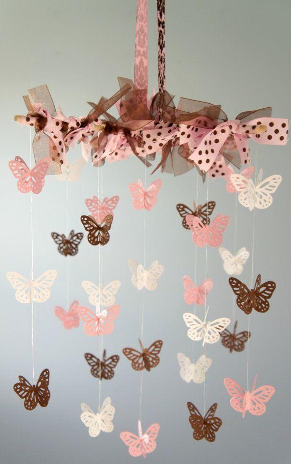 Pink & Brown Nursery Decor Baby Mobile Baby by LoveBugLullabies, $38.00