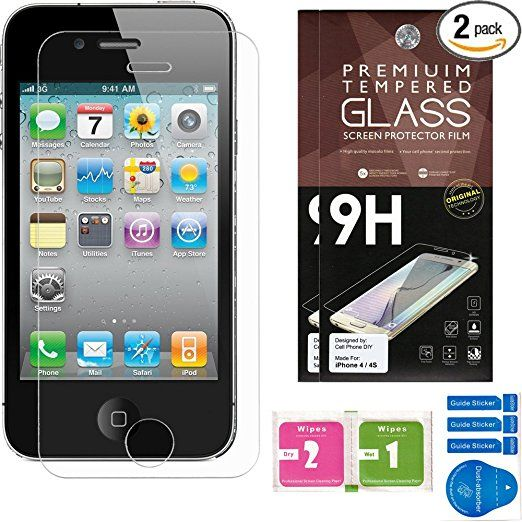 iPhone 4 / 4S Screen Protector [Set of 2] – Ballistic Tempered Glass – Maximum Impact Protection - 99.99% Crystal Clear HD Glass - No Bubbles – Cell Phone DIY® Protectors Kit for Apple iPhone 4 & 4S