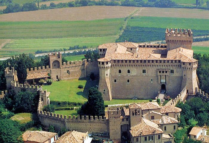 Gradara Castle, Gradara, Marche, Italy. Here, in 1494, arrived Lucrezia Borgia, wife of Giovanni Sforza. After a short domination of Lucrezia's brother, Cesare, Gradara was handed over to the della Rovere. After the end of the latter's dynasty, the city was administrated directly by the Popes.