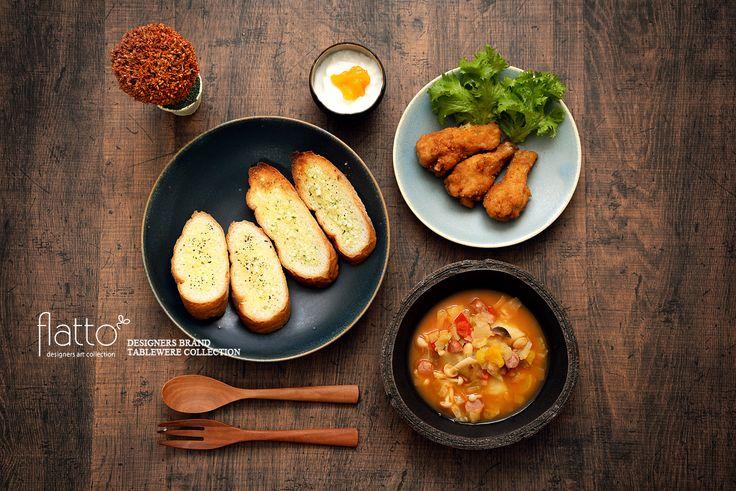 ミネストローネ&ガーリックトースト(和食器:櫻井靖泰のジャグボール/トキノハの陶器市限定食器etc)
