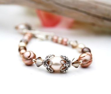 Stirling Silver Cream, Brown and Golden Peach Champagne  Fresh water pearls and Swarovski Crystals