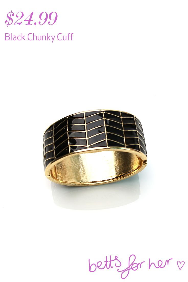 Black Chunky Cuff $24.99 from the All Eyes On You collection - Betts for Her