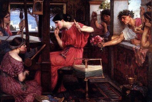 """< 페넬로페와 그녀의 구혼자들 >, 존 윌리엄 워터하우스. 오매불망 남편인 오디세우스를 기다리는 페넬로페. 오디세우스의 재산을 노리고 아름다운 그녀와 결혼하기 위해 많은 구혼자들이 있었다. 페넬로페는 수의를 다 짤 동안은 결혼할 수 없다고 한 뒤, 밤에는 낮동안 짠 수의를 다 풀어버리는 방법으로 시간을 끌었다. 정숙한 여인의 표상이기도 하다. 밤낮으로 실을 짰다 풀었다 그 마음이 어땠을까... 10여년이 지나도록 돌아오지 않는 남편이 어찌 되었을 지 걱정도 되고 막막했을 것 같다. 망부석을 모티프로 한 백제가요,  '정읍사'가 떠오른다. """"달아 노피곰 도다샤.... 아으 다롱디리.."""""""