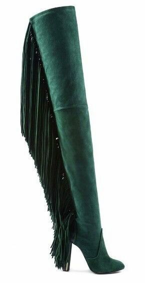#JustCavalli, Fall 2014. Thigh high boots. Emerald green.