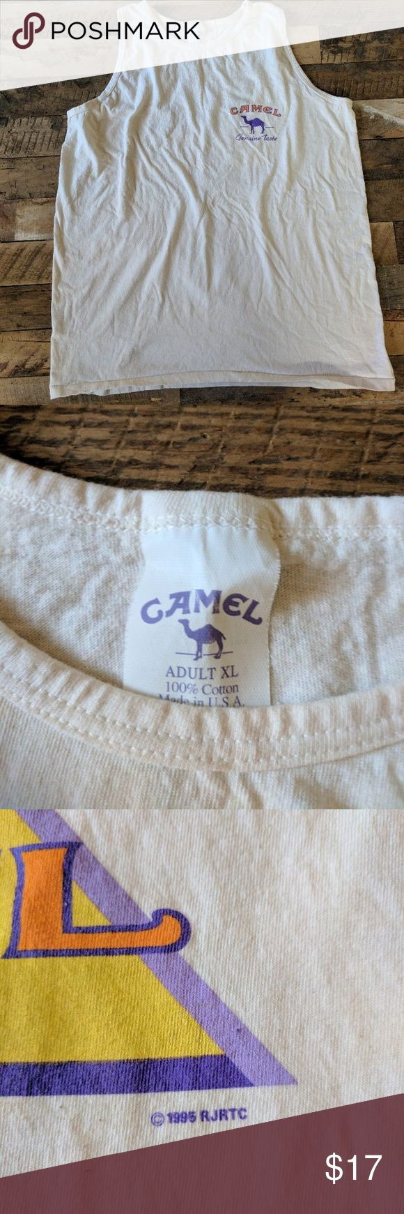 Vintage Camel cigarettes tank top Size XL Made in Vintage Camel cigarettes tank top Size XL Made in USA    #vintage #camel #joecool #cigarettes #tank #marlboro #cowboy #giveaway #beach #smoke #420 #nike #adidas #polo #madeinusa #depop #depopfamous Camel Shirts Tank Tops