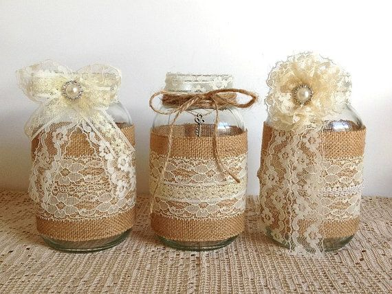 burlap and lace covered jar vases