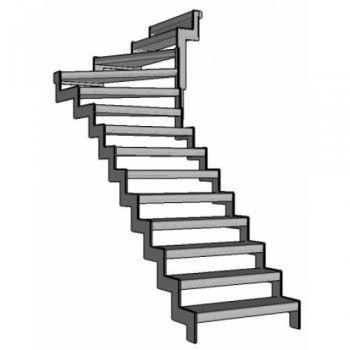 Van deze stalen trap zijn de bomen gemaakt 1centimeter dik staalplaat. De tredendragers zijn plaatjes staal van 4,0 x 0,5cm welke aan de boom zijn vast gelast. De treden kunnen worden gemaakt van zowel: hout als kunststof. Alle onderdelen voldoen aan de gelende Normen.Deze trap wordt geleverd met 5