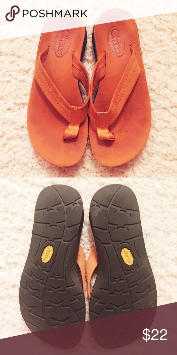 Orange Chacos Women's orange leather Chacos flip flops with rubber Vibram soles Chacos Shoes Sandals