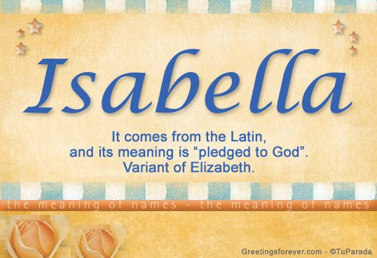 Isabella name meaning. I love the name, I would name my daughter this along with Naomi and Haley. I would call her Elle for short.