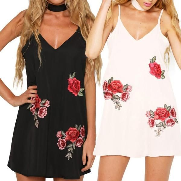 Beautiful Rose Embroidered Dress. Available in Black or White. Get yours now at www.floweringfringe.com