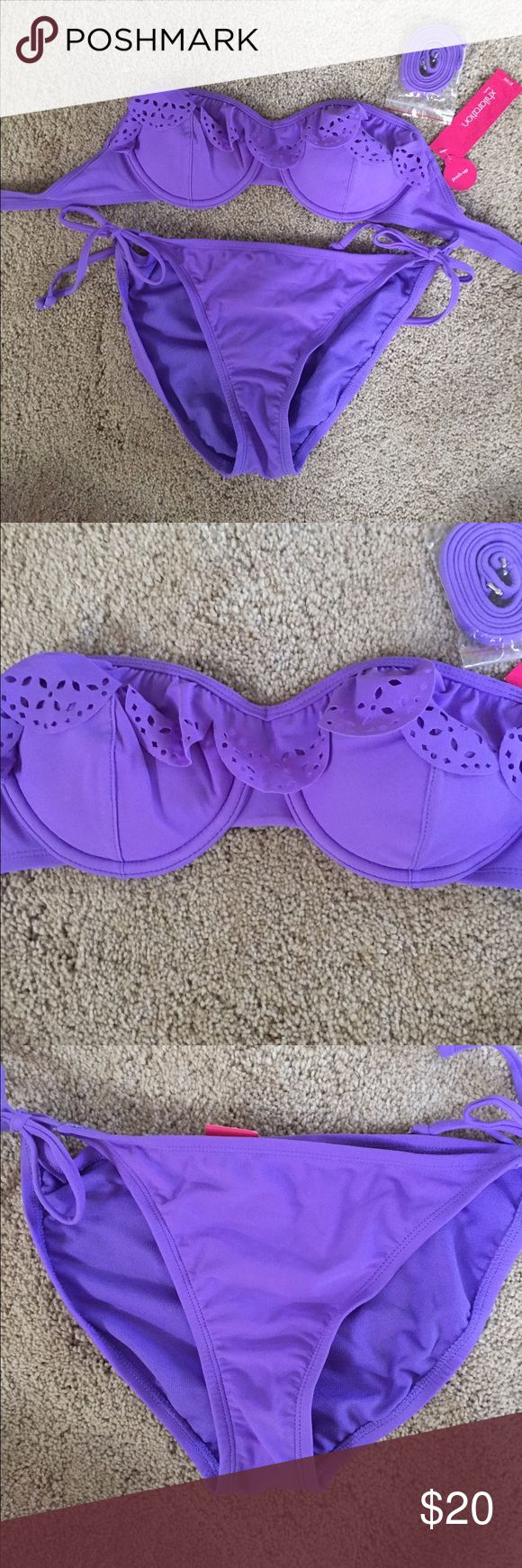 Xhilaration Purple Bikini Set Bikini set with underwire, ruffles, and padding in the top. String tie bikini bottoms. Removable halter strap. Size small. New, never worn Xhilaration Swim Bikinis