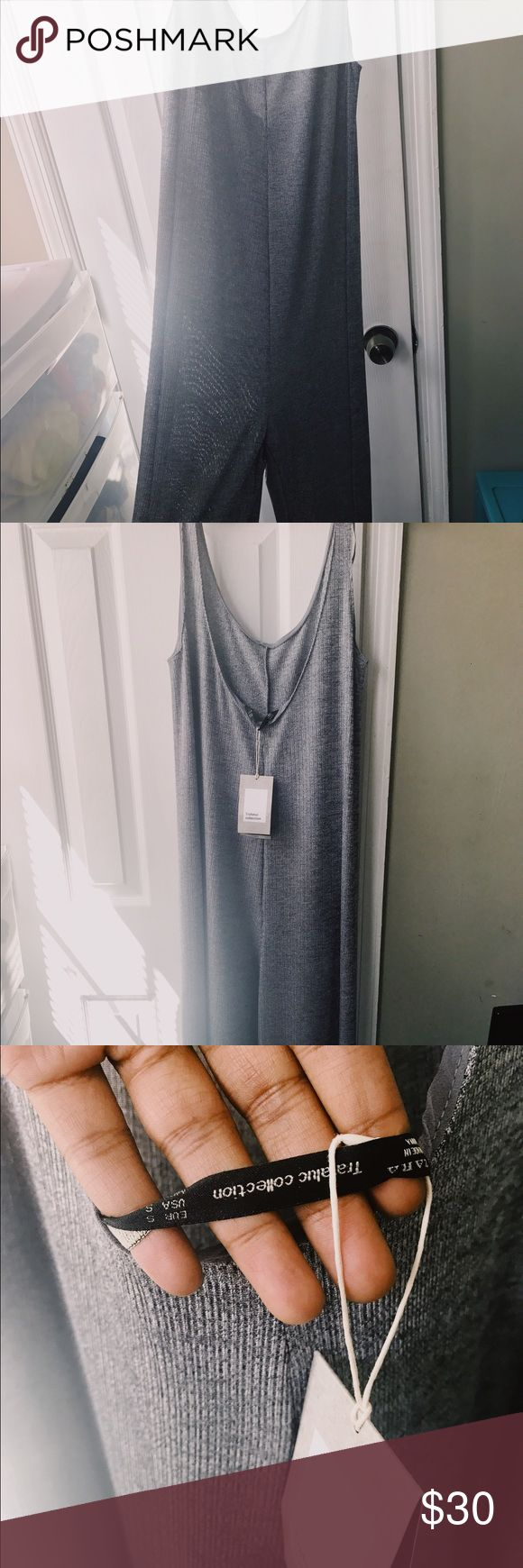 Zara Long Wide-legged Silver Jumpsuit ✨Sale✨ Let me just say, this piece is amazing! 😍😩 I bought it in San Diego for a dinner but never got a chance to wear it. Still has tags. Fits loosely and would look great with a waist belt and heels. To be honest, I'm still indecisive about selling. Silver. Thin material. Short slits up both legs. Zara Pants Jumpsuits & Rompers