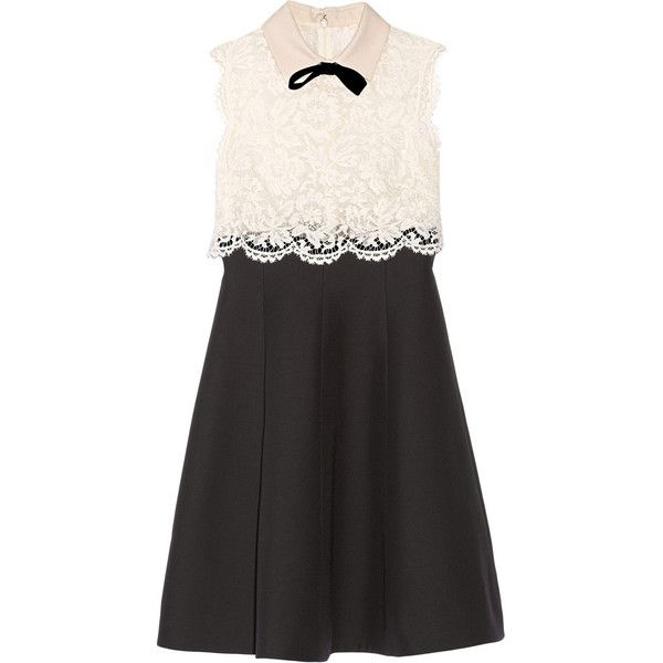 Valentino Lace and wool and silk-blend crepe dress (13140 QAR) ❤ liked on Polyvore featuring dresses, vestidos, valentino, lace dress, flared dress, lace flare dress, valentino dresses y wool dress