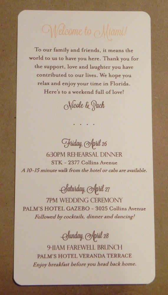 Wedding Weekend / Program / Itinerary / by DarbyCardsNashville, $1.00