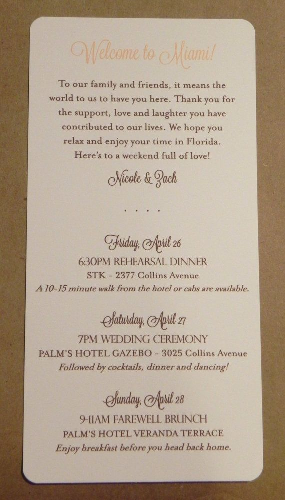Wedding Weekend / Program / Itinerary / by DarbyCardsNashville, $1.00