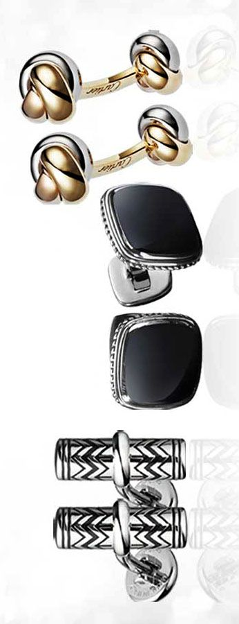 From left: Exotic Stone Cufflinks, Black Onyx, $575, DAVID YURMAN, davidyurman.com. Trinity Classic Gold Cufflinks, $4,750, CARTIER, cartier.us