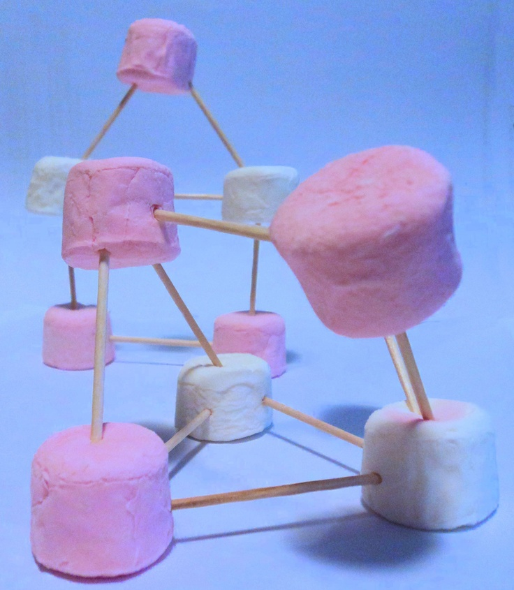 Building structures with marshmallows and toothpicks. Which shapes are the strongest? Part of Chalk Drop's sweet-themed activity box.