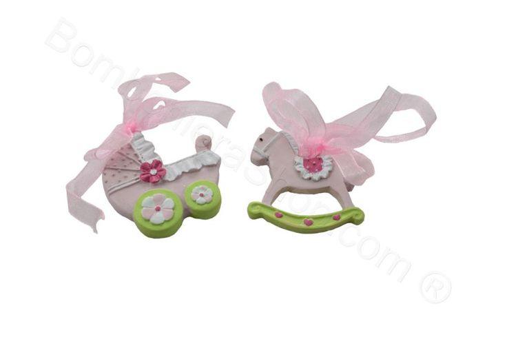 Applicazione con magnete e organza in resina colorata rosa cavallino e carrozzina per bomboniera fai da te  (LS)