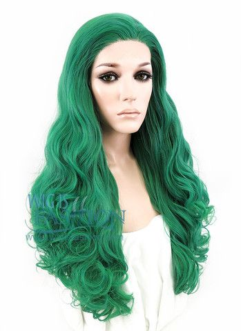 "20"" Long Curly Green Made-To-Order Lace Front Synthetic Hair Wig LF152"