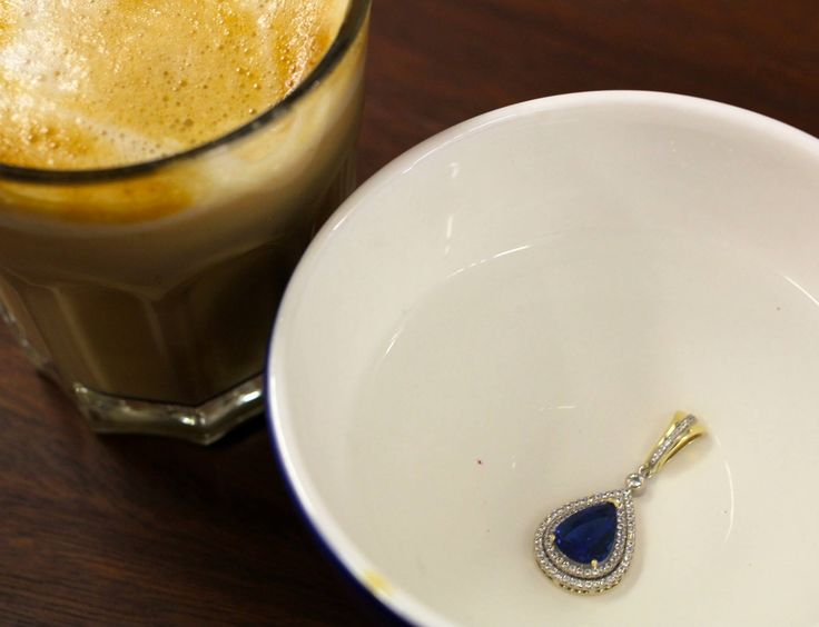Having a coffee, while the tanzanite has a good soak to loosen up the setting wax. (Used to hold the piece securely in place while it's being set).
