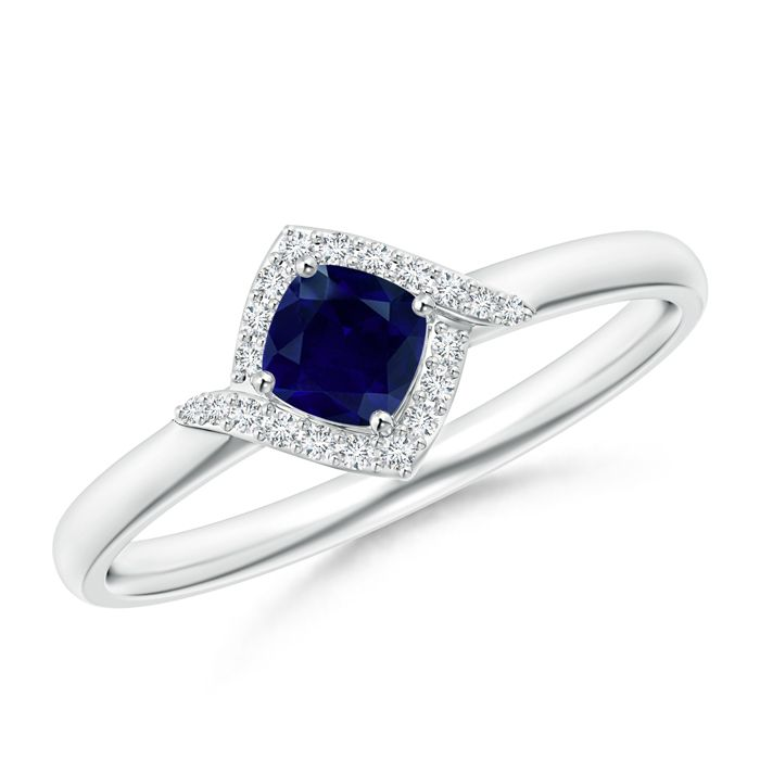Angara Three Stone Blue Sapphire and Diamond Cathedral Ring in Platinum