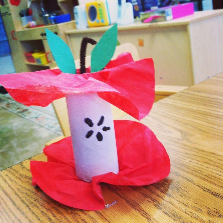 Preschool apple craft.  Toilet paper roll, coffee filters