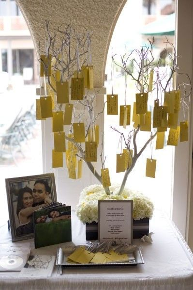 Wedding wish tree... Guests could write their wishes for the happy couple or maybe we could even send out recipe cards that the guests could fill out before hand and then bring to the rehearsal dinner and hang on the tree! That would make for the sweetest cook book ever...