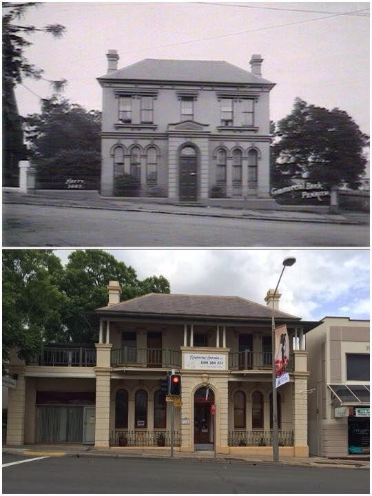 The old CBC Bank (John Cram Place) 338-340 High Street, Penrith c1900 > 2015. [c1900: cbcbank.com.au, 2015: photo by Curt Flood. By Curt Flood]