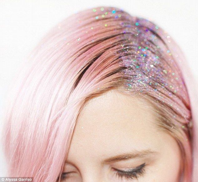 Glitter roots are the latest hair trend as women paint their scalps with sparkles | Daily Mail Online