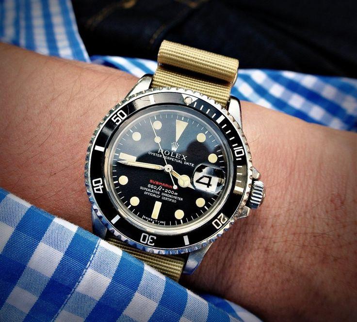 Rolex Submariner on khaki nato strap                              …