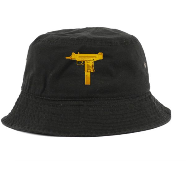 Gold Uzi Bucket Hat (1,230 THB) ❤ liked on Polyvore featuring accessories, hats, snap back hats, uzi, gold snapback hats, gold hats and fisherman hat
