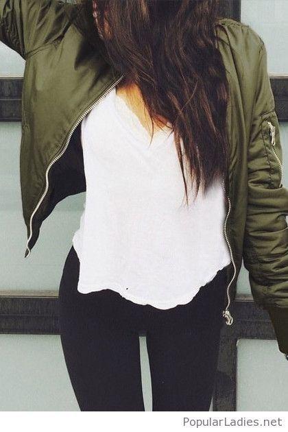 Black leggings, white tee and olive jacket 2018