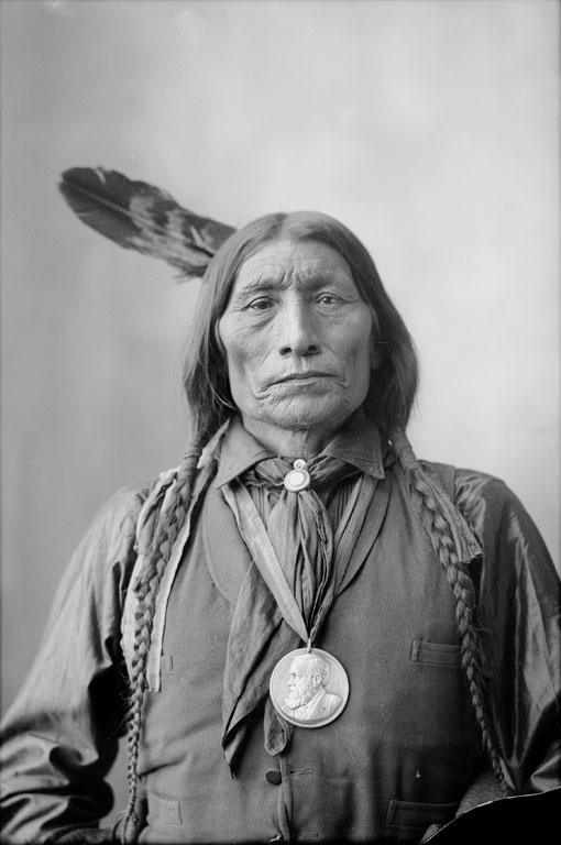 Wolf Robe - 1895 (c.1838-1910) was a Southern Cheyenne chief and a holder of the Benjamin Harrison Peace Medal. During the late 1870s he was forced to leave the open plains and relocate his tribe on to the Cheyenne and Arapaho Indian Reservation in Indian Territory.  He was awarded the Benjamin Harrison Peace Medal in 1890 for his assistance in the Cherokee Commission.""