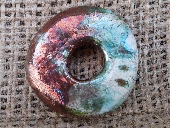 Ceramic Round Pendant caprine pendant animal by BlueBirdyDesign