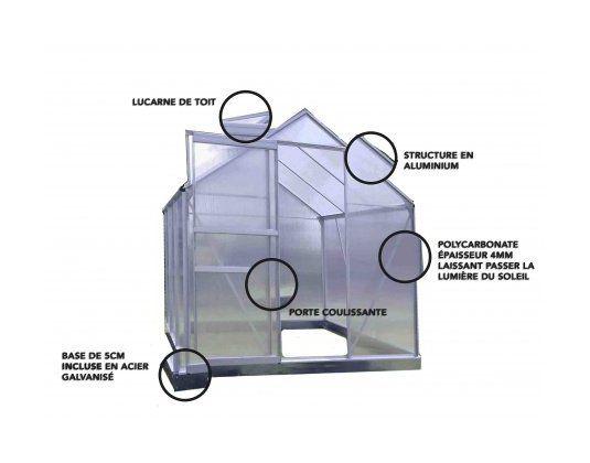 Serre en polycarbonate et aluminium naturel 4,eight m² avec base – LA MAISON DU JARDIN