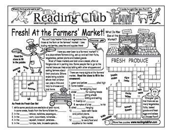 FARMERS' MARKET - The markets are open! Enjoy a Farmers' Market-themed Two-Page Activity Set and Word Search Puzzle with this discounted bundle! Includes:  Fresh Foods From the  Farmers' Market Two-Page Set    Vegetables at the Farmers' Market Word Se