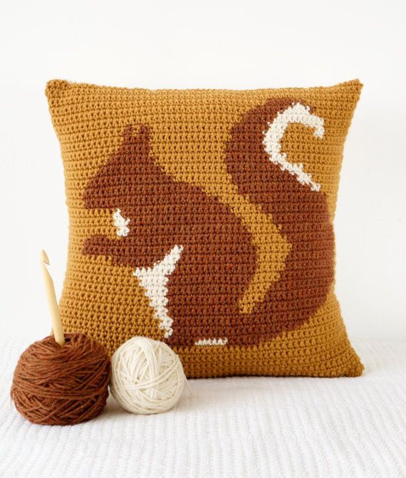 squirrel cushion pillow crochet pattern woodland от LittleDoolally
