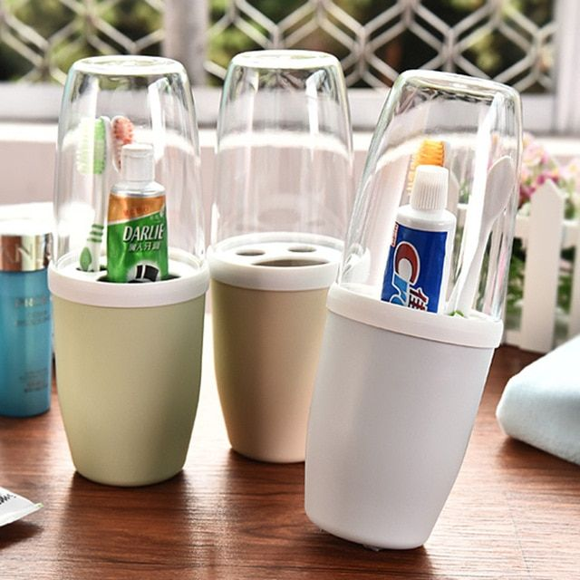 Hot New Korean Bathroom Set Toothbrush Holder Wash Cup With Lid